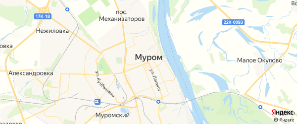Карта Мурома с районами, улицами и номерами домов