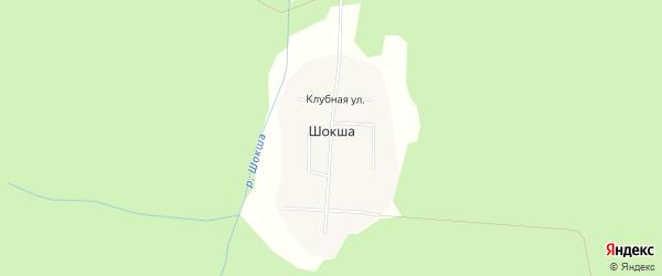 Карта поселка Шокши в Архангельской области с улицами и номерами домов
