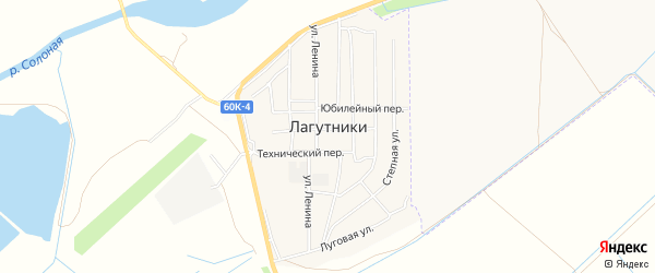 Карта хутора Лагутники в Ростовской области с улицами и номерами домов