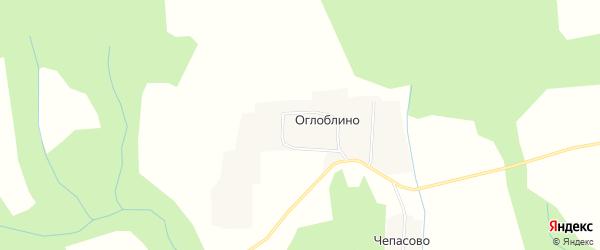 Карта деревни Оглоблино в Костромской области с улицами и номерами домов
