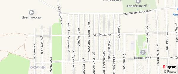 Переулок Олега Кошевого на карте Цимлянска с номерами домов