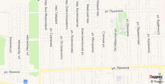 Комсомольская улица в Цимлянске с номерами домов на карте. Спутник и схема онлайн