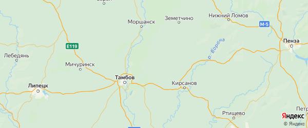 Карта Бондарского района Тамбовской области с городами и населенными пунктами