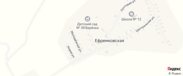 Юбилейная улица на карте Ефремковской деревни с номерами домов