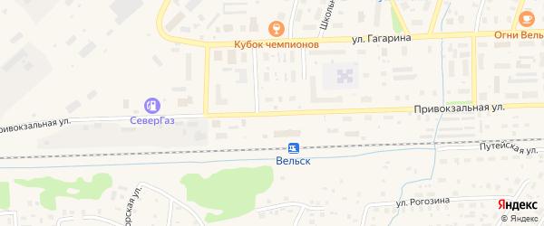 Привокзальная улица на карте Вельска с номерами домов