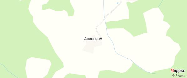 Карта деревни Ананьино в Костромской области с улицами и номерами домов
