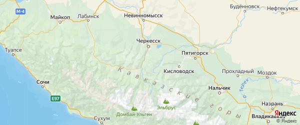 Карта Усть-джегутинского района Республики Карачаево-Черкесии с городами и населенными пунктами