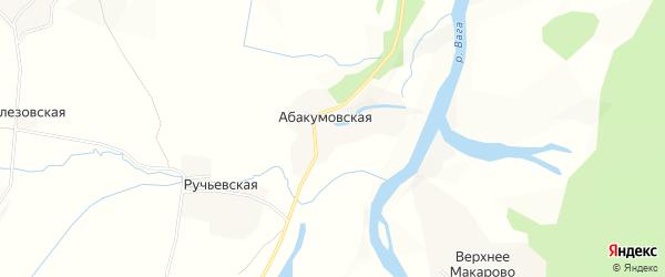 Карта Абакумовской деревни в Вологодской области с улицами и номерами домов