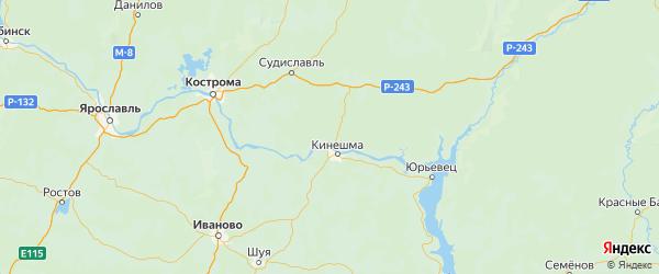 Карта Заволжского района Ивановской области с городами и населенными пунктами