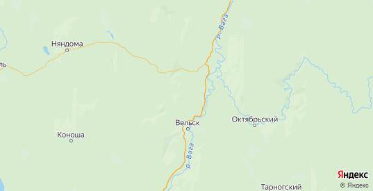Карта Вельского района Архангельской области с городами и населенными пунктами