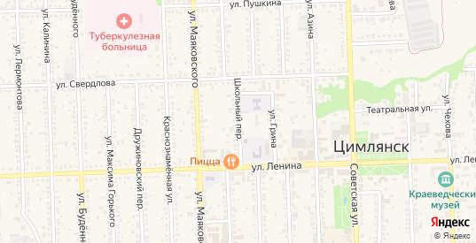 Школьный переулок в Цимлянске с номерами домов на карте. Спутник и схема онлайн