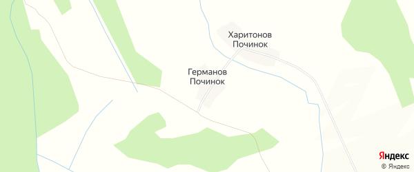 Карта деревни Германова Починка в Костромской области с улицами и номерами домов