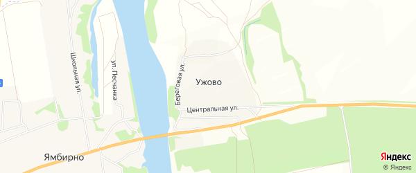 Карта деревни Ужово в Рязанской области с улицами и номерами домов