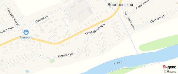 Боровая улица на карте Вороновской деревни Архангельской области с номерами домов