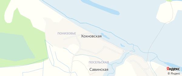 Карта Хохновской деревни в Архангельской области с улицами и номерами домов