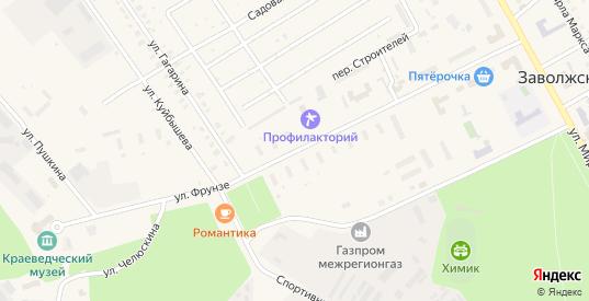 Улица Фрунзе в Заволжске с номерами домов на карте. Спутник и схема онлайн