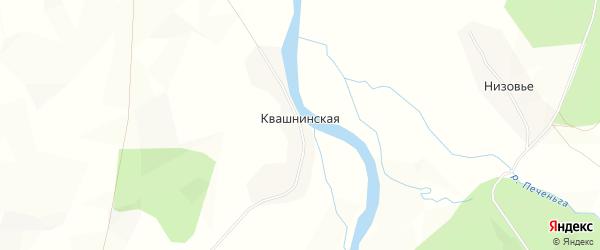 Карта Квашнинской деревни в Архангельской области с улицами и номерами домов