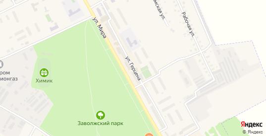 Улица Герцена в Заволжске с номерами домов на карте. Спутник и схема онлайн