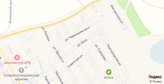 Улица Баха в Заволжске с номерами домов на карте. Спутник и схема онлайн