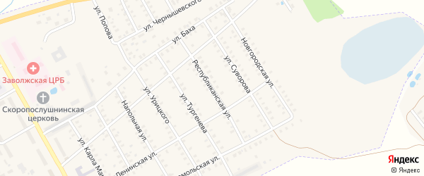Республиканская улица на карте Заволжска с номерами домов