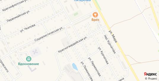 Красногвардейская улица в Заволжске с номерами домов на карте. Спутник и схема онлайн