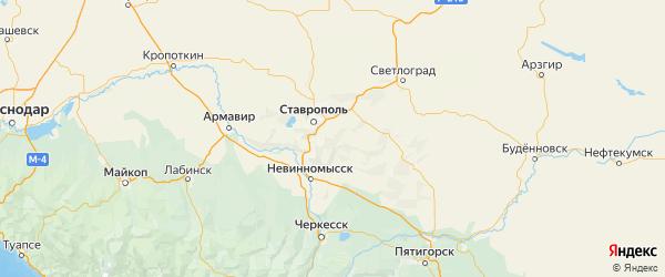 Карта Шпаковского района Ставропольского края с городами и населенными пунктами