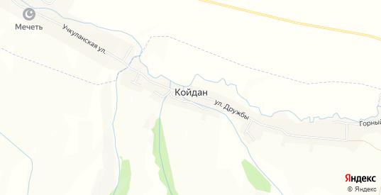 Карта села Койдан в республике Карачаево-Черкесия с улицами, домами и почтовыми отделениями со спутника онлайн