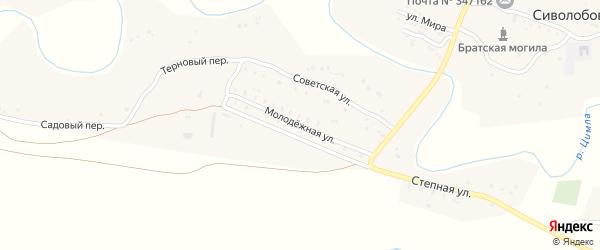 Молодежная улица на карте хутора Сиволобова Ростовской области с номерами домов