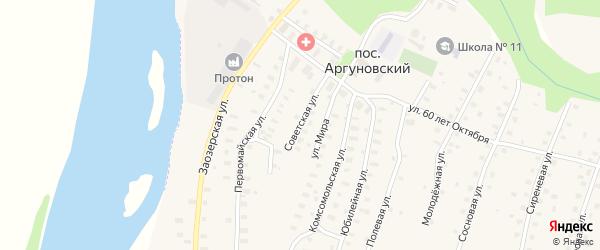 Советская улица на карте Аргуновского поселка Архангельской области с номерами домов