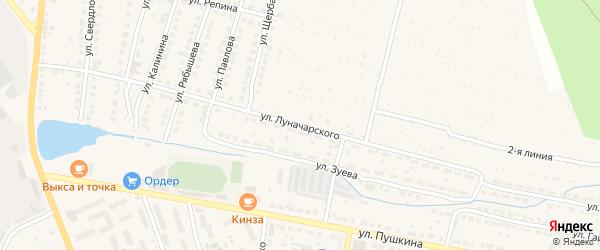 Улица Луначарского на карте Выксы с номерами домов