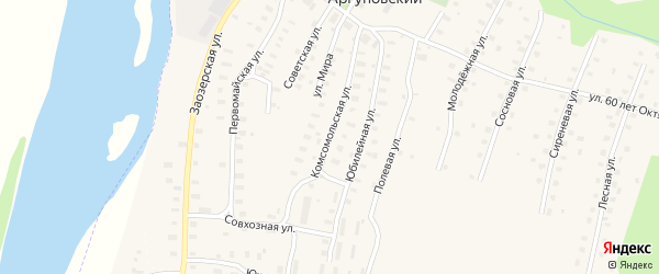 Комсомольская улица на карте Аргуновского поселка с номерами домов