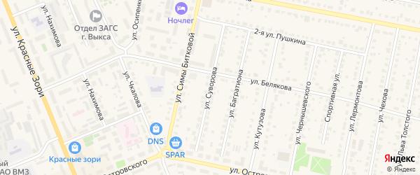 Улица Суворова на карте Выксы с номерами домов