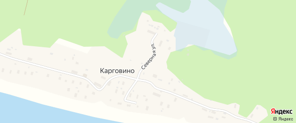Северная улица на карте поселка Карговино Архангельской области с номерами домов