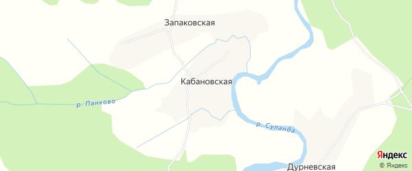 Карта Кабановской деревни в Архангельской области с улицами и номерами домов