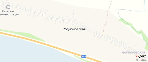 Северная улица на карте Родионовской деревни Архангельской области с номерами домов