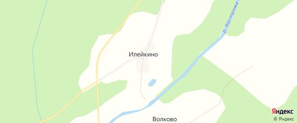 Карта деревни Илейкино в Костромской области с улицами и номерами домов