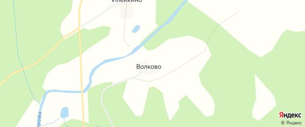 Карта деревни Волково (Бурдуковская с/а) в Костромской области с улицами и номерами домов