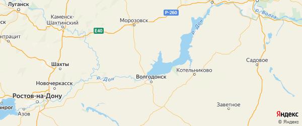 Карта Цимлянского района Ростовской области с городами и населенными пунктами