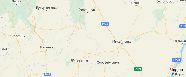Карта Алексеевского района Волгоградской области с городами и населенными пунктами