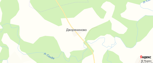 Карта деревни Дворяниново в Костромской области с улицами и номерами домов