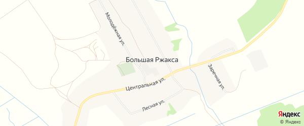 Карта села Большей Ржаксы в Тамбовской области с улицами и номерами домов