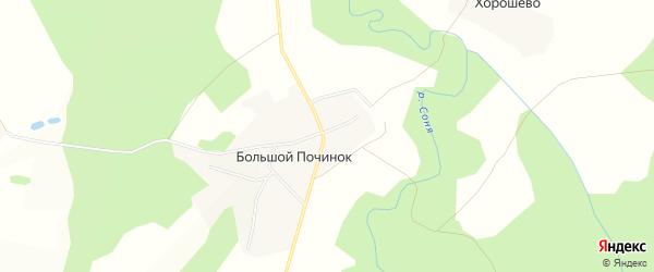 Карта деревни Большого Починок в Костромской области с улицами и номерами домов
