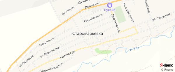 Карта села Старомарьевка в Ставропольском крае с улицами и номерами домов