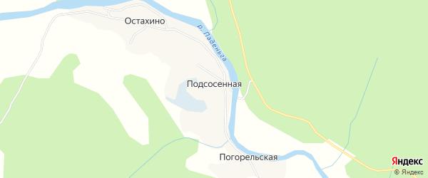 Карта Подсосенной деревни в Архангельской области с улицами и номерами домов