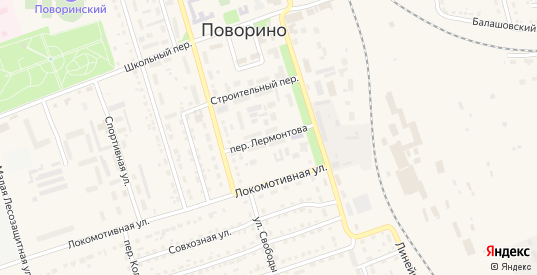 Переулок Лермонтова в Поворино с номерами домов на карте. Спутник и схема онлайн