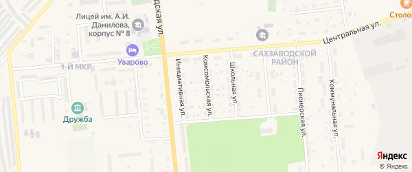 Комсомольская улица на карте Уварово с номерами домов