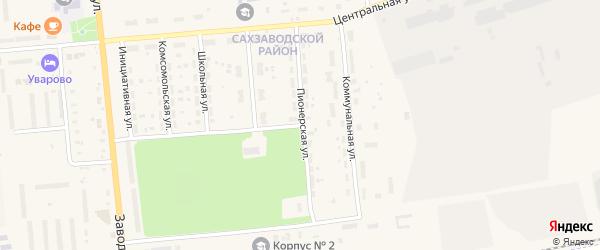 Пионерская улица на карте Уварово с номерами домов