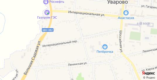 Интернациональный переулок в Уварово с номерами домов на карте. Спутник и схема онлайн