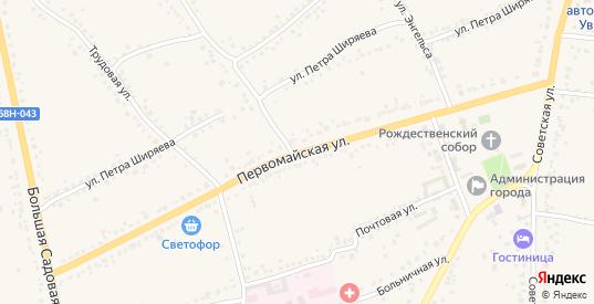 Первомайская улица в Уварово с номерами домов на карте. Спутник и схема онлайн