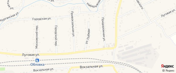 Улица Победы на карте Уварово с номерами домов